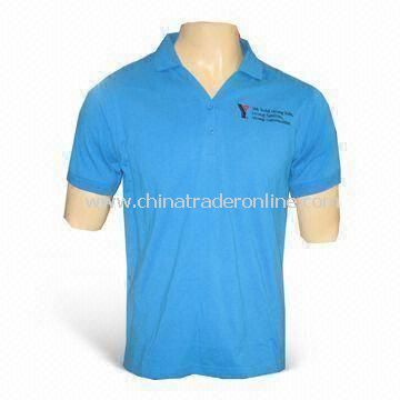 Mens Casual T-shirt with Embroidery, Customized Sizes are Accepted, Made of 100% Cotton
