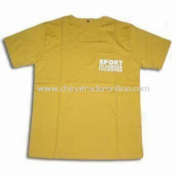 Mens Cotton T-shirt with Screen Printing, Suitable for Sports Events, Various Designs Available
