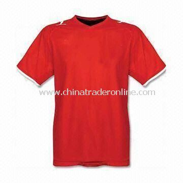 Mens Soccer T-shirt, Made of 100% Polyester, Interlock 145gsm, and Quick-dry Active Feature