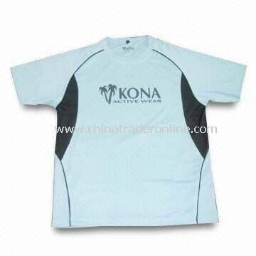 Mens Sports T-shirt with Printing, Made of 100% Polyester, Various Colors are Available