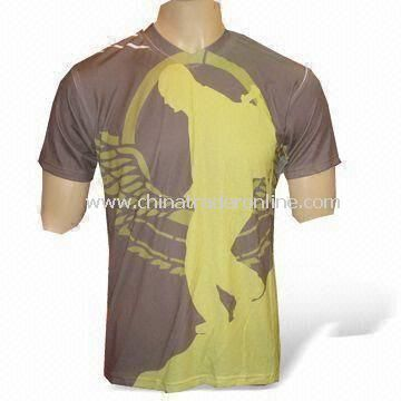 Pantone Mens Casual T-shirt with Sublimation Printing on Garment, Made of 100% Polyester