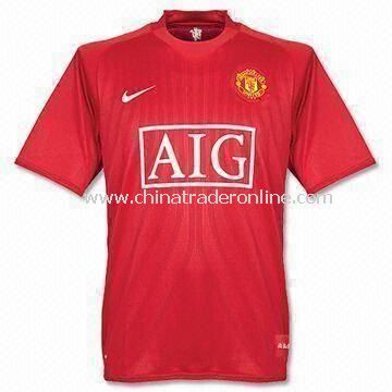Promotional Football T-shirt, Made of Polyester or Cotton, Customized Designs are Accepted