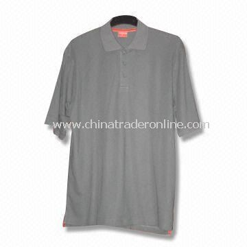 Short-sleeved Mens Golf T-shirt, Made of 100% Cotton with Functional Fabric in Dry Fit