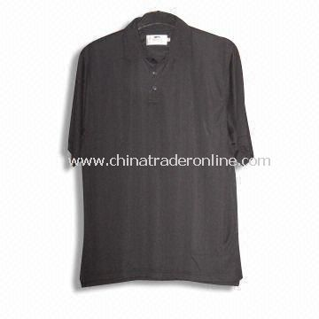 Short-sleeved Mens Golf T-shirt, Made of 100% Polyester Top Cool Honeycomb Fabric