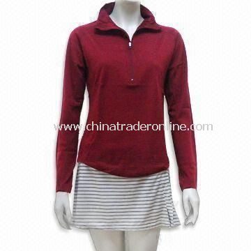 Womens Long Sleeves T-shirt with Half Zipper Closure, Anti-microbial and Wicking Features