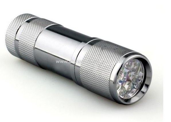 Fashionable Silvery Design 9-Bulb LED Flashlight
