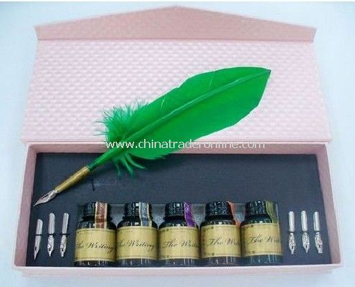offilce mark pen/ plush quill pen /feather dip pen with ink bottle in multicolor package