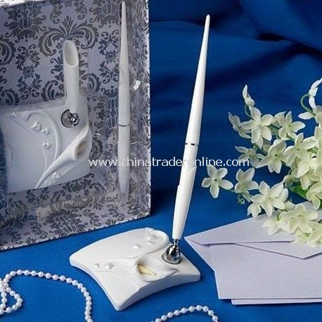 Adeline Favors wedding/Sign-in pen/Signature pen wedding ball-point white 2pcs