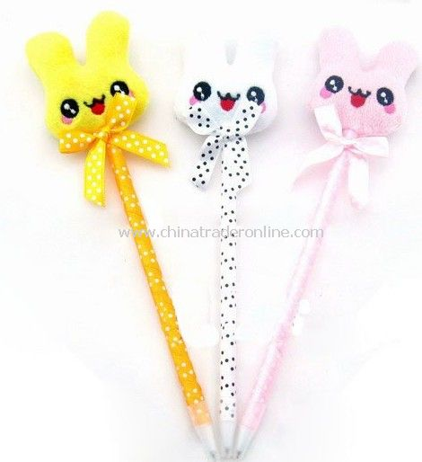 cartoon rabbit plush ball-pen,animal ball-pen,wholesale ball-pen,novelty ball pen