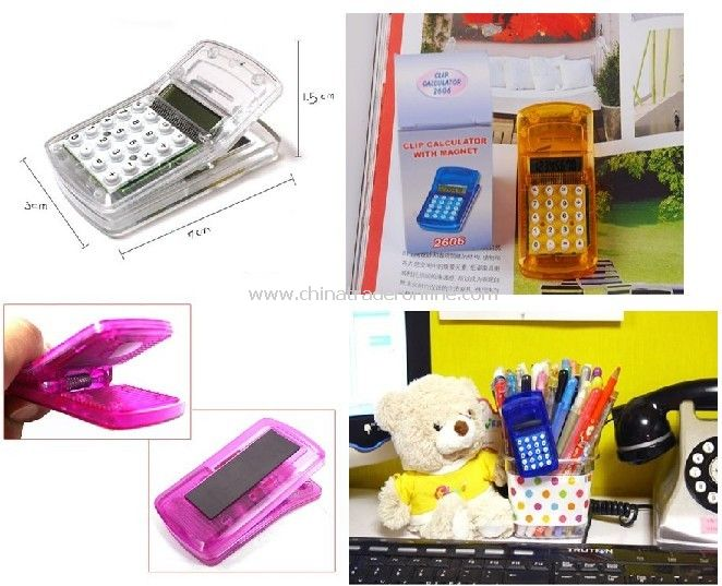 mini portable magnetic paper clip calculator