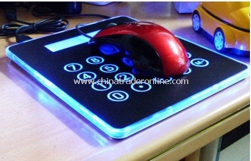 New Multifunction 4 Port USB Mouse Pad Mousepad Calculator With Blue LED,Mouse Keyboard MP3 Connection