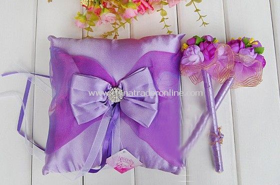 Wedding gift,Senior diamond ring pillow,Western-style pillow,Lace Purple bridal Ring Pillow+Signature Pens RP38