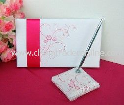 white&red stamp guest book and pen/ wedding favor/wedding decoration/wedding set