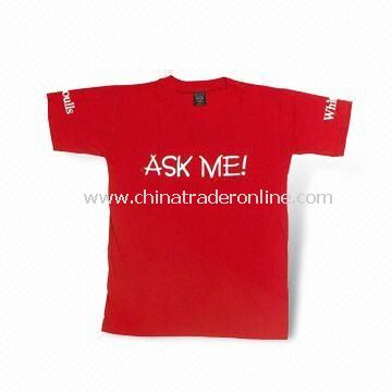 100% Cotton Promotional T-shirt, Screen Printing Logo on Front or Back