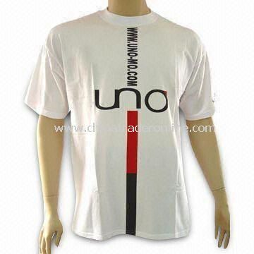 Mens 100% Cotton T-shirt with Logo Print, Various Sizes and Colors Available