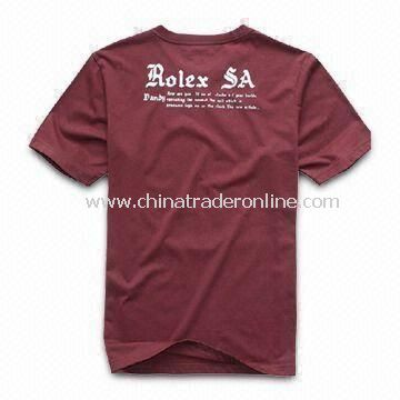 Mens Knitted T-shirt, Made of 100% Cotton, Customized Designs and Logos are Welcome