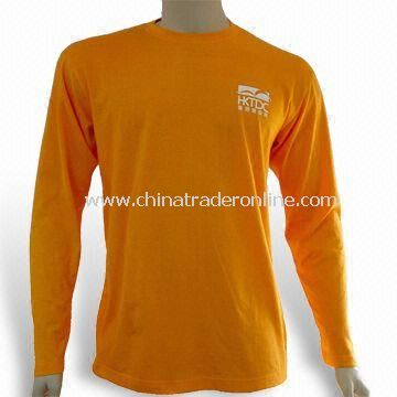 Promotional Long-sleeved T-shirt, Made of Cotton/Polyester