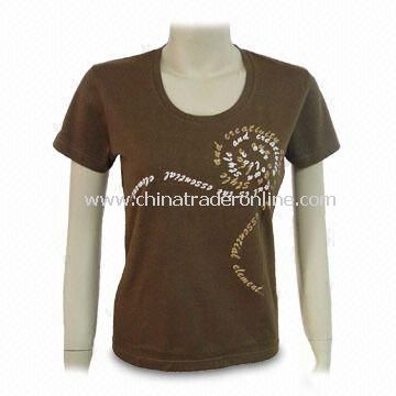Promotional Womens T-shirt, Made of 100% Cotton, Available in Brown Color