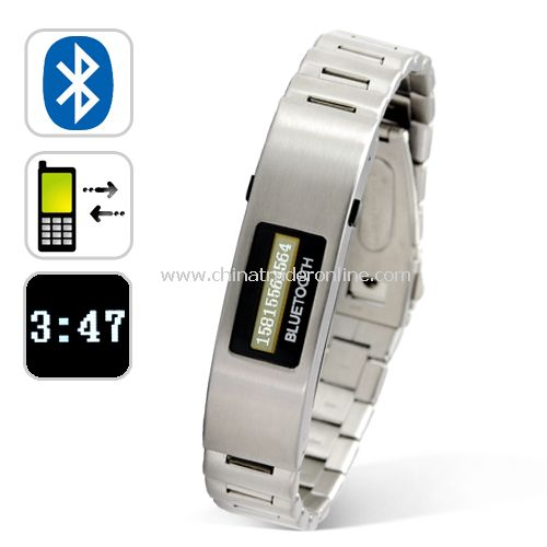 Bluetooth Bracelet w/Vibration Function + Digital Time Display Metallic