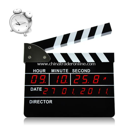 Clapperboard Alarm Clock with Red Led Display (Directors Edition)