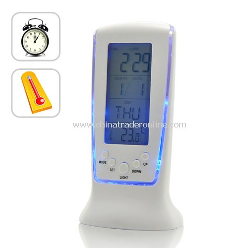 Digital Blue LED Light Alarm Clock with Thermometer