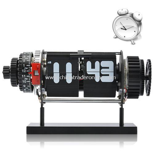 Electro-Mechanical Flip Alarm Clock with 2 White LED Lights (Black)