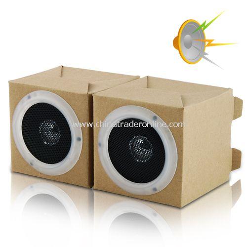 Green Speaker Set - Two Box Desktop Stereo - Friendly Eco
