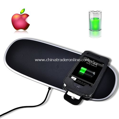 iPhone & iPod Wireless Charger Mat w/ Leather Case Holder