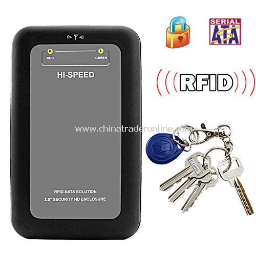 RFID Security 2.5 Inch SATA HDD Enclosure - Encrypted with Two RFID Key Tags