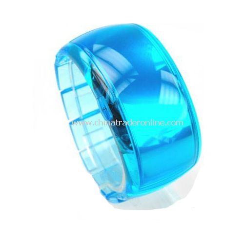 South Korea ODM Stylish LED Dot-Matrix Fashion Watch with Weekday Display - Blue