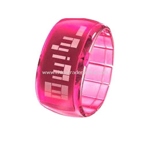 South Korea ODM Stylish LED Dot-Matrix Fashion Watch with Weekday Display - Pink