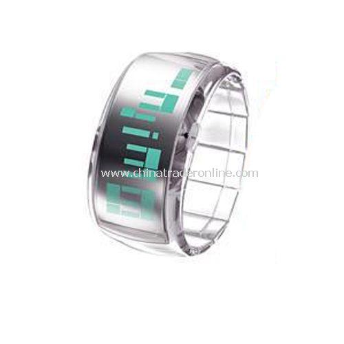 South Korea ODM Stylish LED Dot-Matrix Fashion Watch with Weekday Display - white