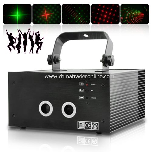 150mW Sound Activated Red and Green Double Laser DMX Projector with DMX 512 IN & OUT ports