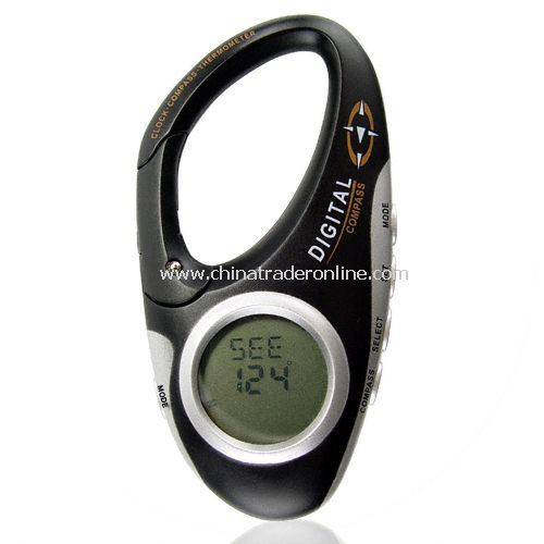Digital Compass Carabiner with Thermometer and Clock - Clip-On Lock