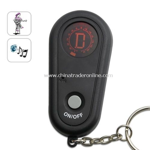 Guitar Tuner Keychain - LCD Screen with Red Backlight