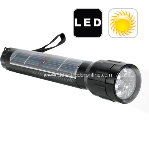 Mini Solar Powered LED Flashlight - White