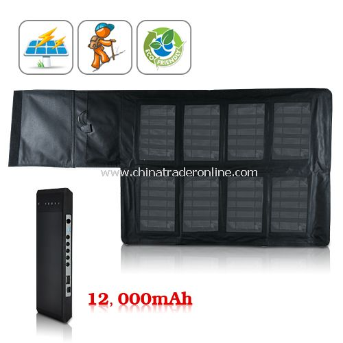 Portable Solar Charger and 12000 mAh Battery