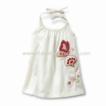 100% Cotton Baby Dress with Prints and Embroideries Features