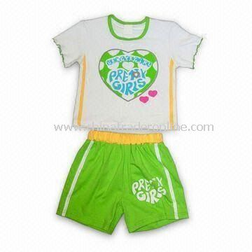 Babies Cotton Clothing Set with Printing on the Front Side, Available in Customized Colors