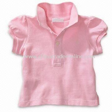 Babies T-shirt in Pink Color with Polo Neck, Customized Designs Accepted
