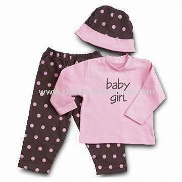 Baby Clothing Set, Includes Baby T-shirt, Pants, and Hat