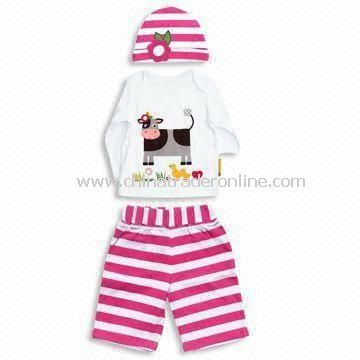 Baby Clothing Set, Includes T-shirt, Pants, and Hat, Customized Colors are Accepted