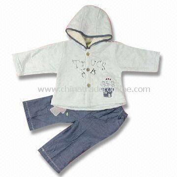 Baby Clothing Set with Matching Hat, Made of 100% Cotton, Available in Various Colors from China