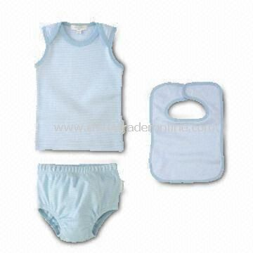 Baby Clothing Set with Vest, Shorts, and Bib