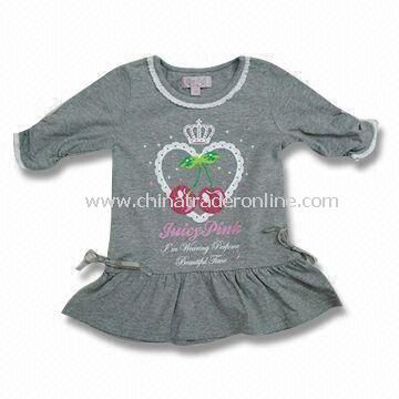 Baby Short-sleeved Dress, Made of Cotton, Measures 76 to 104cm