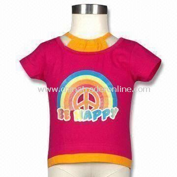 Baby T-shirt Glitter Print Top with Mock Halter, Made of 160g Cotton Jersey, Suitable for Infant from China