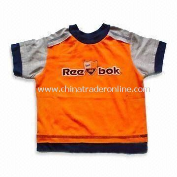 Baby T-shirt with Round Neck, Made of 100% Combed Cotton, Available in Various Colors and Sizes