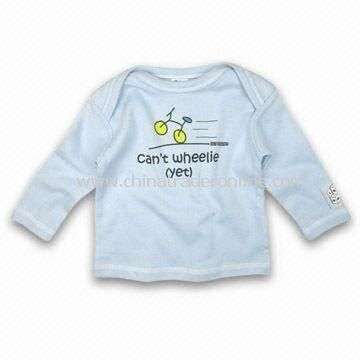 Baby T-shirt with Stretchy Neck and Long Sleeves, Available in Various Sizes and Colors