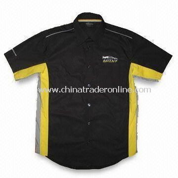 Button Down Collar Racing Shirt for Men, Made of Lightweight Cotton/Polyester Twill, Weighs 140gsm