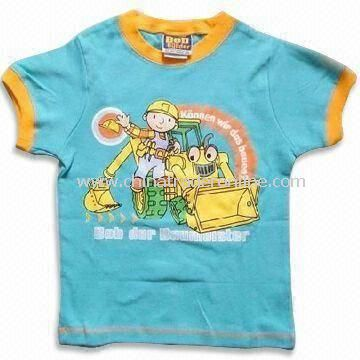 Fashionable Baby T-shirt with Short Sleeves, Made of 100% Combed Cotton